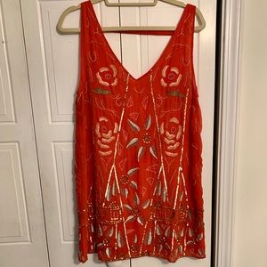Free people coral mini dress with detailed beading